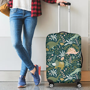 dinosaurs tropical leaves flower pattern Luggage Covers