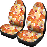 Orange yellow orchid flower pattern background Universal Fit Car Seat Covers