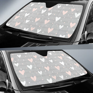 Heart Pattern Gray Background Car Sun Shade