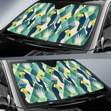 Toucan Tropical Leaves Design Pattern  Car Sun Shade