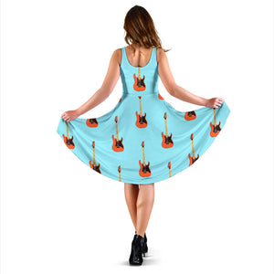 Electric Guitar Pattern Light Blue Background Sleeveless Midi Dress