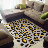 Gray Leopard print pattern Area Rug
