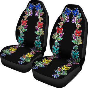Four Directions Floral Set Of 2 Car Seat Covers