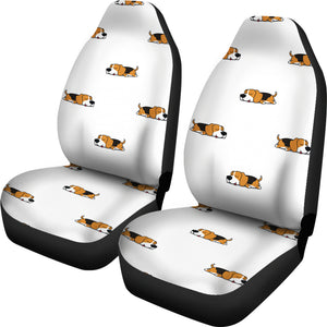 Cute Beagle Dog Sleeping Pattern  Universal Fit Car Seat Covers