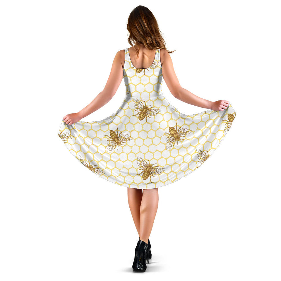Bee Honeycomb Seamless Design Pattern Sleeveless Midi Dress