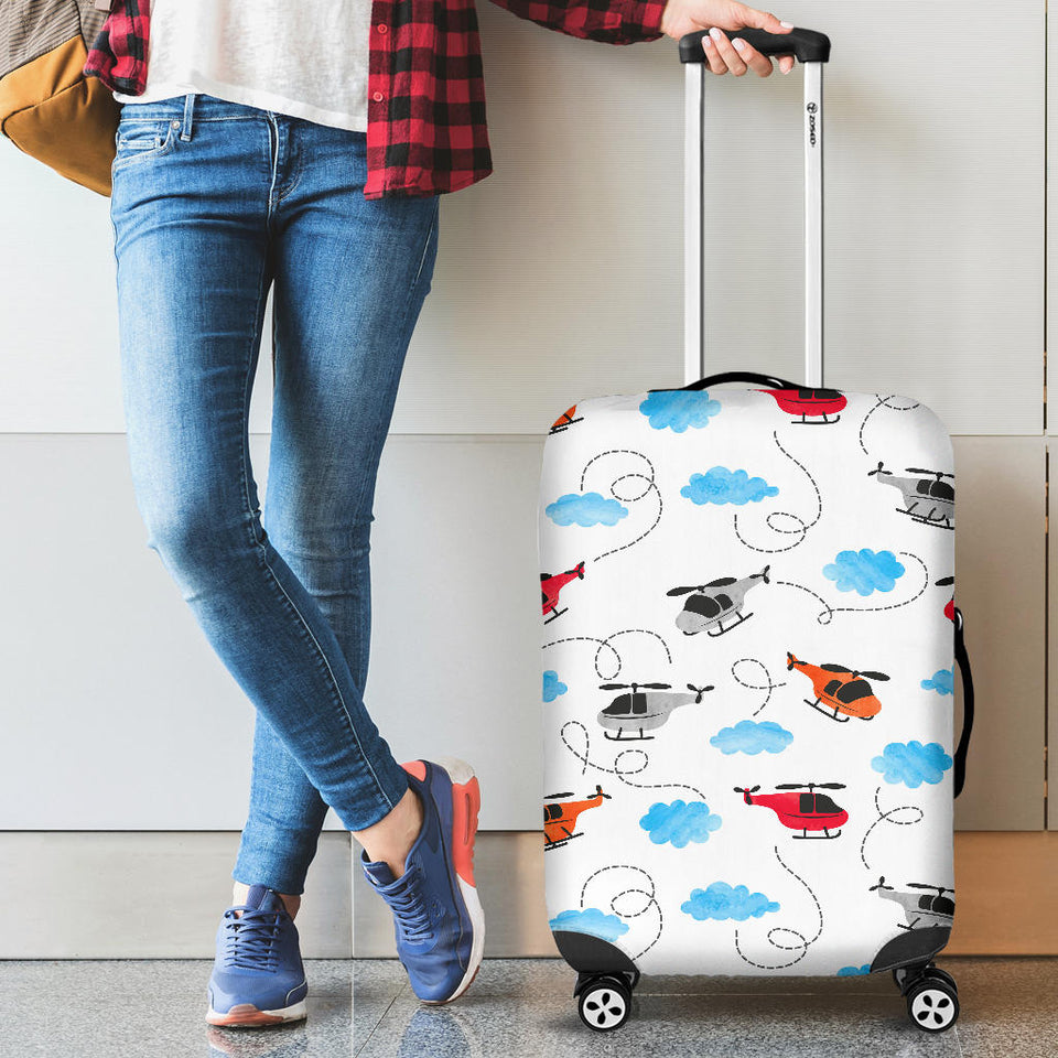 Watercolor Helicopter Cloud Pattern Luggage Covers