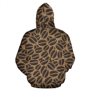 Coffee bean on brown background Men Women Pullover Hoodie