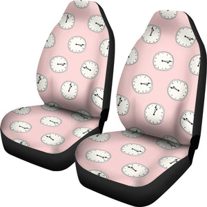 Clock Pattern Pink Blackground Universal Fit Car Seat Covers
