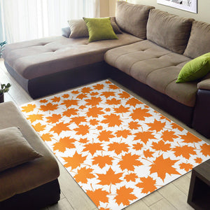 Orange Maple Leaf Pattern Area Rug
