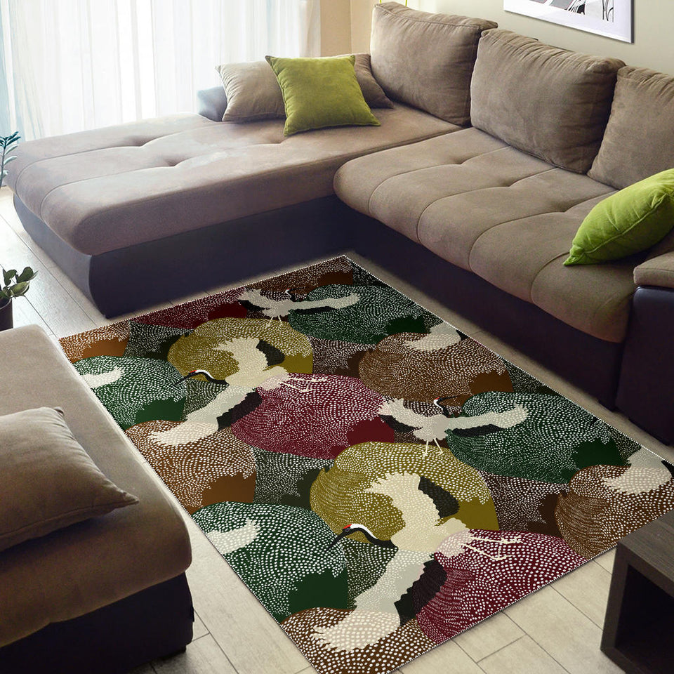 Japanese Cranes Flying Forest Dot Pattern Area Rug