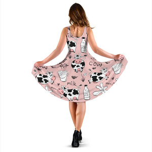 Cows milk product pink background Sleeveless Midi Dress