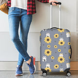 Cute hamster sunflower pattern background Luggage Covers