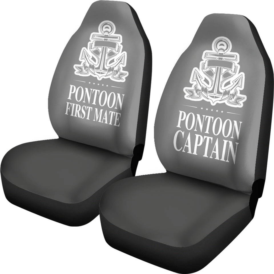 Car Seat Covers - Pontoon Captain And First Mate Smoke Grey