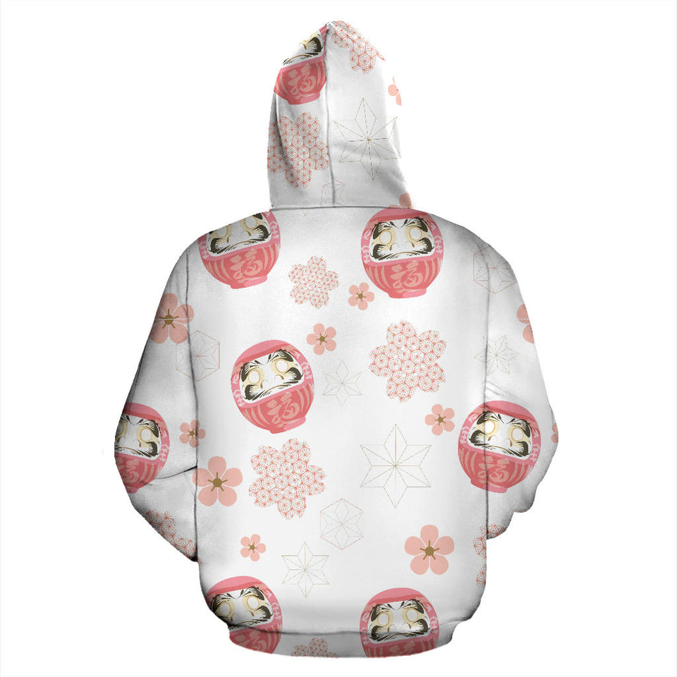 Daruma japanese wooden doll cherry blossom flower pattern Pullover Hoodie