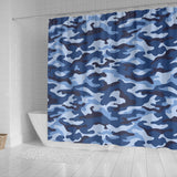 Blue Camo Camouflage Pattern Shower Curtain Fulfilled In US