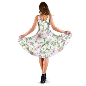 Beautiful Pink Lotus Waterlily Leaves Pattern Sleeveless Midi Dress