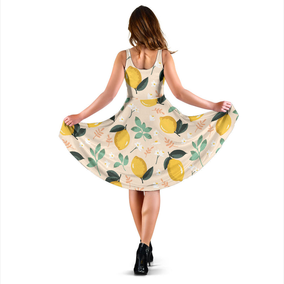 Lemon Flower Leave Pattern Sleeveless Midi Dress