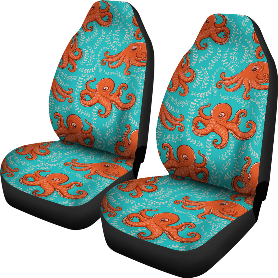 Octopus turquoise background Universal Fit Car Seat Covers