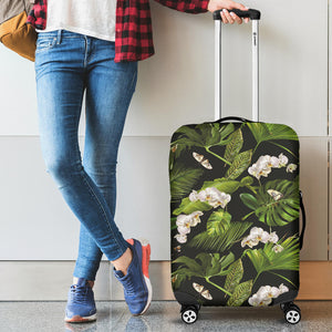White Orchid Flower Tropical Leaves Pattern Blackground Luggage Covers