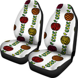 Colorful Apples Leave Zebra Stripe  Universal Fit Car Seat Covers