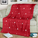 Christmas Tree Star Snow Red Background Premium Blanket
