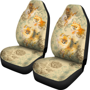Pomeranian Car Seat Covers (Set Of 2)