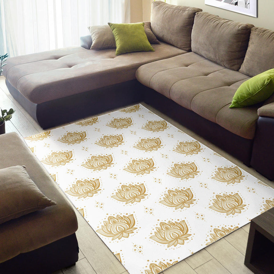 Gold Ornamental Lotue Waterlily Symbol Pattern Area Rug