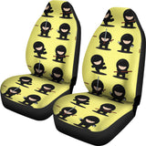 Cute Ninja Yellow Background Universal Fit Car Seat Covers