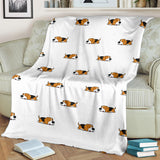 Cute Beagle Dog Sleeping Pattern Premium Blanket