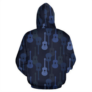 Blue Theme Guitar Pattern Men Women Pullover Hoodie