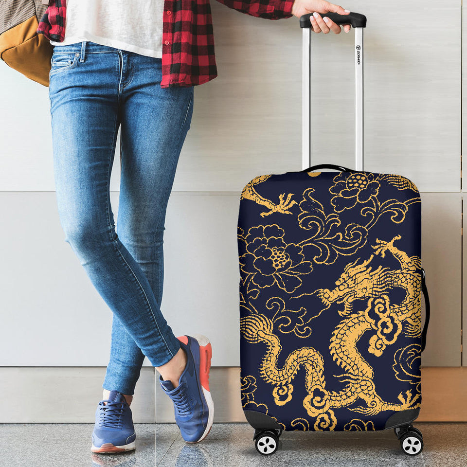 Gold Dragon Pattern Luggage Covers