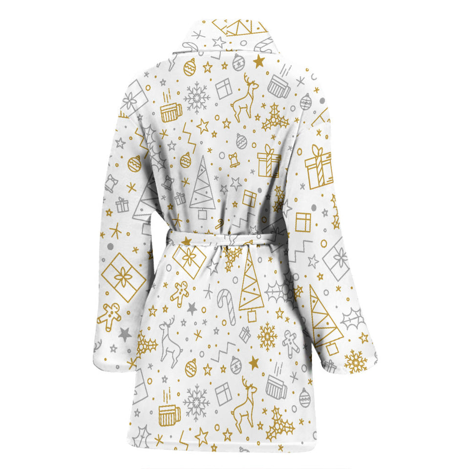 Christmas Tree Christmas Element Silver Gold Pattern Women'S Bathrobe