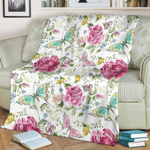 Hand drawn butterfly rose Premium Blanket