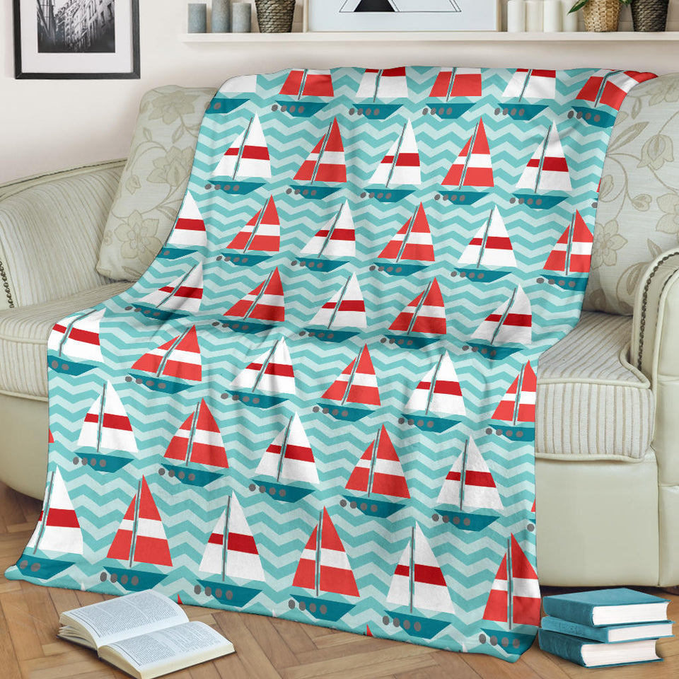 Red White Sailboat Wave Background Premium Blanket