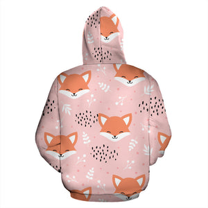 Cute Fox Pattern Pink Background Men Women Pullover Hoodie