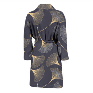 Gold Ginkgo Leaves Men'S Bathrobe