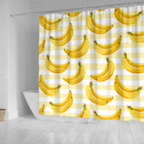 Banana Pattern Blackground Shower Curtain Fulfilled In US