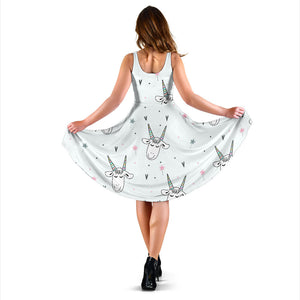 Cute goat design pattern Sleeveless Midi Dress