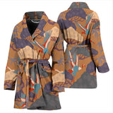 Bonsai Bamboo Stork Japanese Pattern Brown Theme Women'S Bathrobe