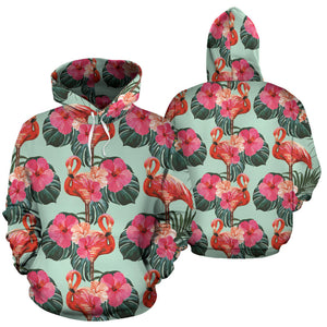 Beautiful flamingo tropical palm leaves hibiscus pateern background Pullover Hoodie