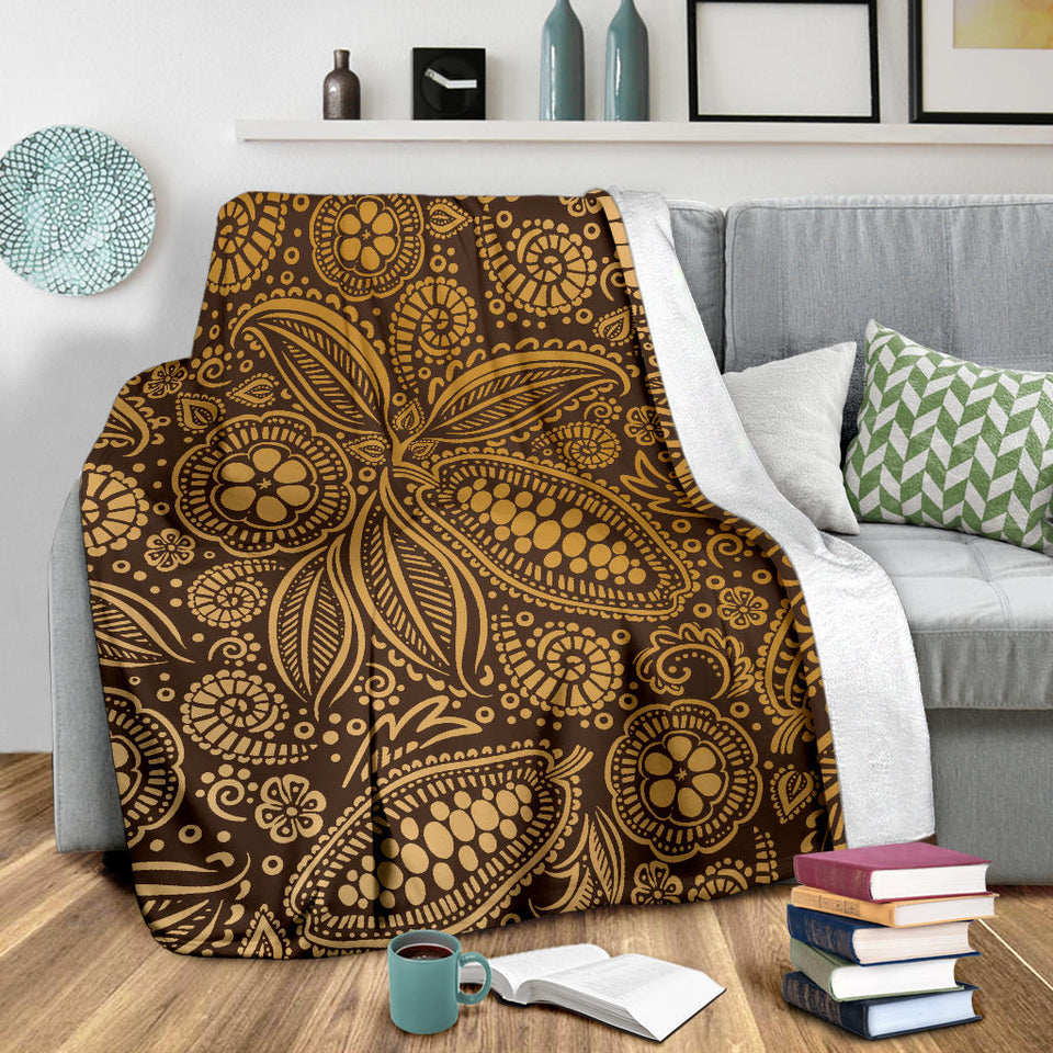 Cocoa Beans Tribal Polynesian Pattern Background Premium Blanket