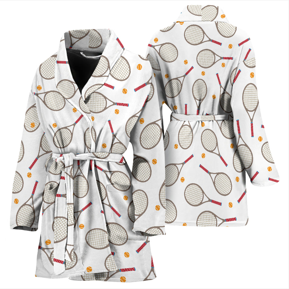 Tennis Pattern Print Design 04 Women's Bathrobe