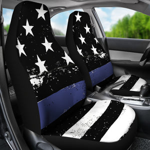 Thin Blue Car Seat Covers