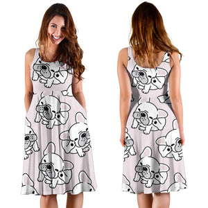 Cute french bulldog pattern Sleeveless Midi Dress