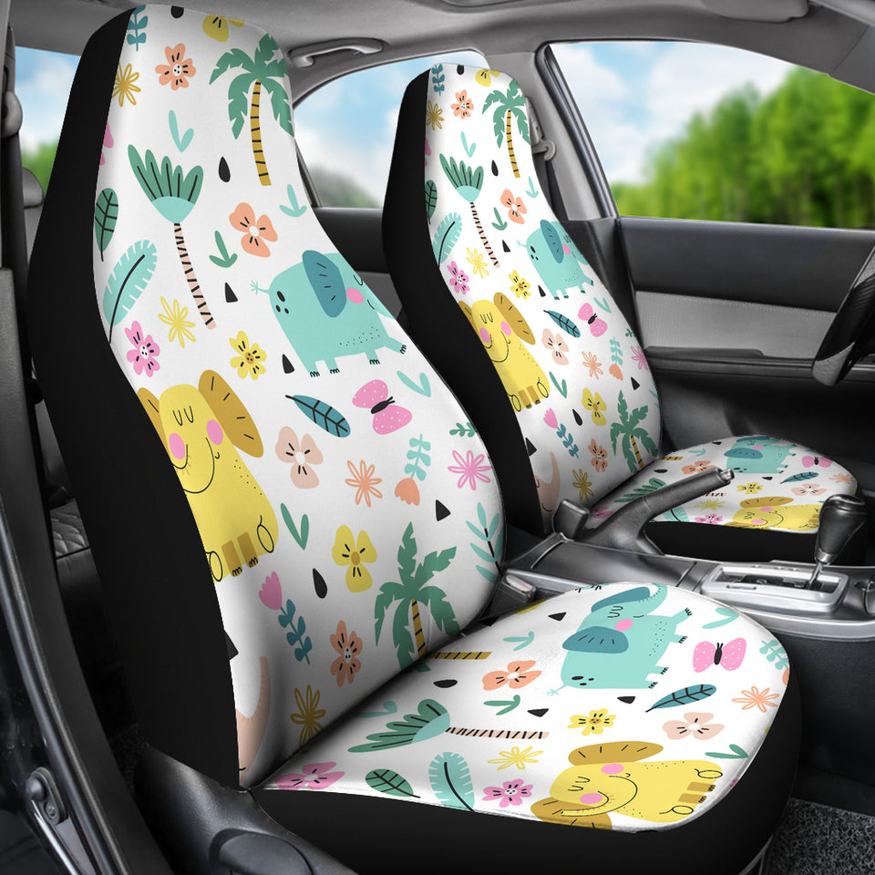 Cute Elephants Palm Tree Flower Butterfly Pattern Universal Fit Car Seat Covers
