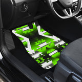 Green Winter Camp Front Car Mats (Set Of 2)
