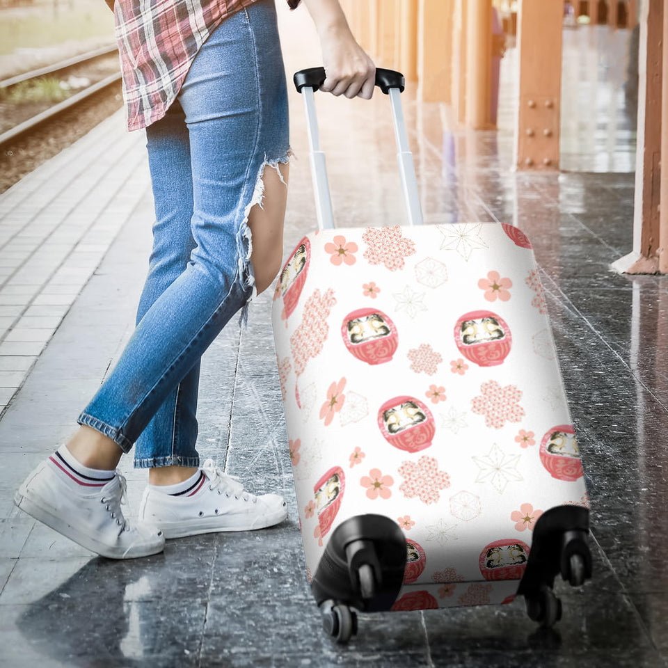 Daruma japanese wooden doll cherry blossom flower pattern Luggage Covers
