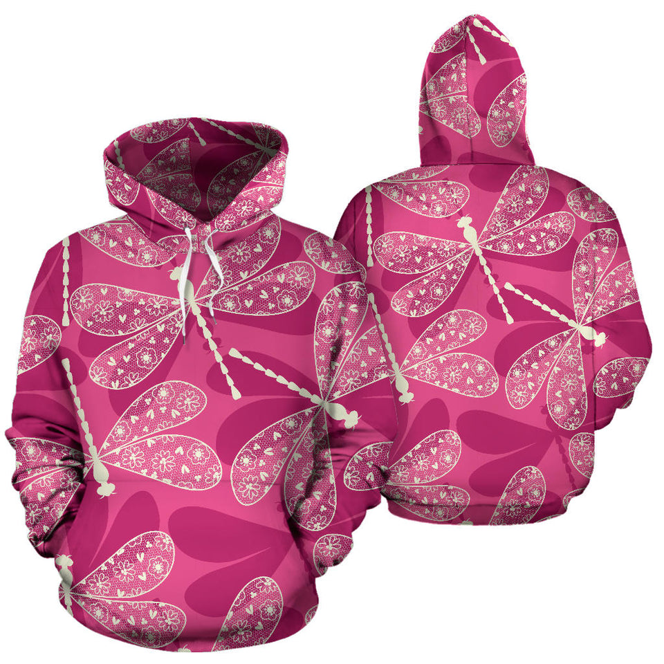 Beautiful dragonfly pink background Pullover Hoodie