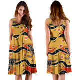 Kangaroo Australian Aboriginal Art Pattern Sleeveless Midi Dress