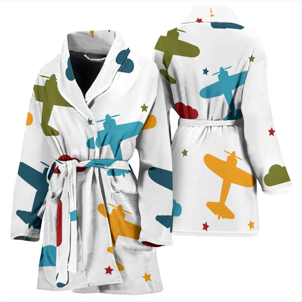 Airplane Star Cloud Colorful Women'S Bathrobe
